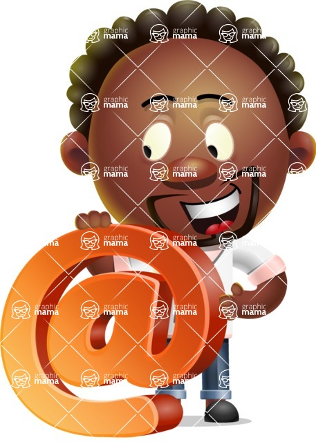 Cute African American Man Cartoon 3D Vector Character AKA Jeffrey Strategic - Email