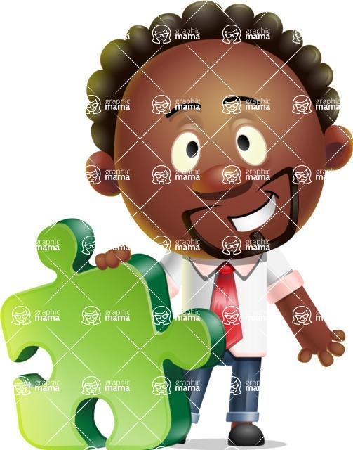 Cute African American Man Cartoon 3D Vector Character AKA Jeffrey Strategic - Puzzle