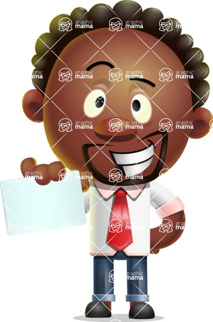 Cute African American Man Cartoon 3D Vector Character AKA Jeffrey Strategic - Sign 1