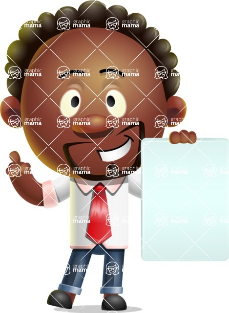 Cute African American Man Cartoon 3D Vector Character AKA Jeffrey Strategic - Sign 2