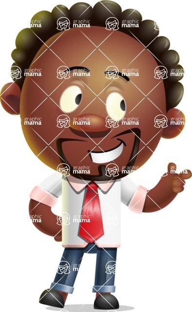 Cute African American Man Cartoon 3D Vector Character AKA Jeffrey Strategic - Point