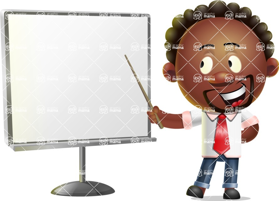 Cute African American Man Cartoon 3D Vector Character AKA Jeffrey Strategic - Presentation 2