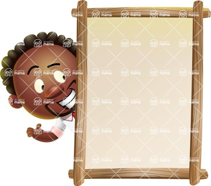 Cute African American Man Cartoon 3D Vector Character AKA Jeffrey Strategic - Presentation 4