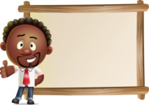 Cute African American Man Cartoon 3D Vector Character AKA Jeffrey Strategic - Presentation 5
