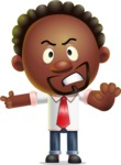 Cute African American Man Cartoon 3D Vector Character AKA Jeffrey Strategic - Direct Attention