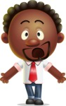 Cute African American Man Cartoon 3D Vector Character AKA Jeffrey Strategic - Stunned