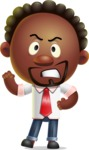 Cute African American Man Cartoon 3D Vector Character AKA Jeffrey Strategic - Angry