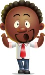 Cute African American Man Cartoon 3D Vector Character AKA Jeffrey Strategic - Shocked