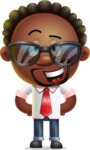 Cute African American Man Cartoon 3D Vector Character AKA Jeffrey Strategic - Sunglasses
