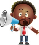 Cute African American Man Cartoon 3D Vector Character AKA Jeffrey Strategic - Loudspeaker