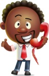 Cute African American Man Cartoon 3D Vector Character AKA Jeffrey Strategic - Support