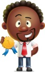 Cute African American Man Cartoon 3D Vector Character AKA Jeffrey Strategic - Ribbon