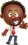 Cute African American Man Cartoon 3D Vector Character AKA Jeffrey Strategic - Wave