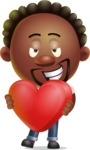 Cute African American Man Cartoon 3D Vector Character AKA Jeffrey Strategic - Love