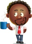 Cute African American Man Cartoon 3D Vector Character AKA Jeffrey Strategic - Coffee