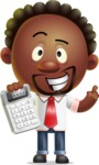 Cute African American Man Cartoon 3D Vector Character AKA Jeffrey Strategic - Calculator