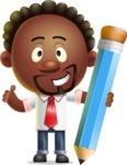 Cute African American Man Cartoon 3D Vector Character AKA Jeffrey Strategic - Pencil