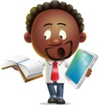 Cute African American Man Cartoon 3D Vector Character AKA Jeffrey Strategic - Book and iPad