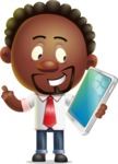 Cute African American Man Cartoon 3D Vector Character AKA Jeffrey Strategic - iPad 3