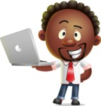 Cute African American Man Cartoon 3D Vector Character AKA Jeffrey Strategic - Laptop 1