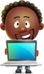 Cute African American Man Cartoon 3D Vector Character AKA Jeffrey Strategic - Laptop 2