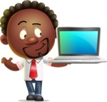 Cute African American Man Cartoon 3D Vector Character AKA Jeffrey Strategic - Laptop 3