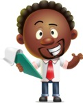 Cute African American Man Cartoon 3D Vector Character AKA Jeffrey Strategic - Notepad 3