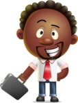 Cute African American Man Cartoon 3D Vector Character AKA Jeffrey Strategic - Briefcase 1