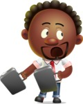 Cute African American Man Cartoon 3D Vector Character AKA Jeffrey Strategic - Briefcase 3