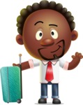 Cute African American Man Cartoon 3D Vector Character AKA Jeffrey Strategic - Travel 1