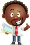 Cute African American Man Cartoon 3D Vector Character AKA Jeffrey Strategic - Plans