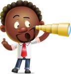 Cute African American Man Cartoon 3D Vector Character AKA Jeffrey Strategic - Telescope