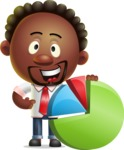 Cute African American Man Cartoon 3D Vector Character AKA Jeffrey Strategic - Chart