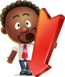 Cute African American Man Cartoon 3D Vector Character AKA Jeffrey Strategic - Pointer 3