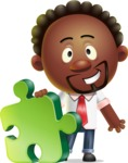 Cute African American Man Cartoon 3D Vector Character AKA Jeffrey Strategic - Puzzle