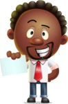 Cute African American Man Cartoon 3D Vector Character AKA Jeffrey Strategic - Sign 1