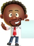 Cute African American Man Cartoon 3D Vector Character AKA Jeffrey Strategic - Sign 2