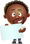 Cute African American Man Cartoon 3D Vector Character AKA Jeffrey Strategic - Sign 3