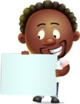 Cute African American Man Cartoon 3D Vector Character AKA Jeffrey Strategic - Sign 4