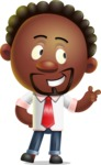 Cute African American Man Cartoon 3D Vector Character AKA Jeffrey Strategic - Point