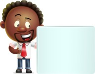 Cute African American Man Cartoon 3D Vector Character AKA Jeffrey Strategic - Sign 8