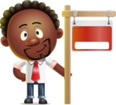 Cute African American Man Cartoon 3D Vector Character AKA Jeffrey Strategic - Sign 9