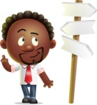 Cute African American Man Cartoon 3D Vector Character AKA Jeffrey Strategic - Crossroad