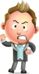 Stylish Man Cartoon 3D Vector Character Design AKA Andrew Richman - Angry