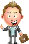 Stylish Man Cartoon 3D Vector Character Design AKA Andrew Richman - Briefcase 2