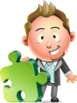 Stylish Man Cartoon 3D Vector Character Design AKA Andrew Richman - Puzzle