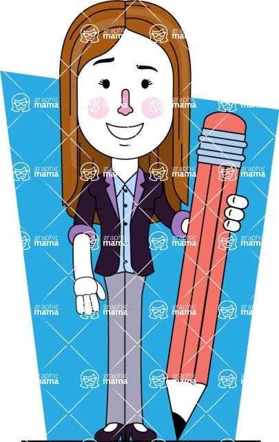 Minimalistic Business Girl Vector Character Design AKA Maryanna - Shape 12