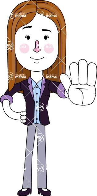 Minimalistic Business Girl Vector Character Design AKA Maryanna - Stop