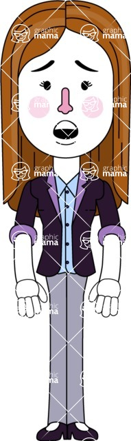 Minimalistic Business Girl Vector Character Design AKA Maryanna - Stunned