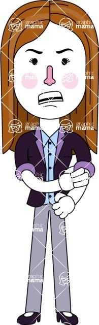 Minimalistic Business Girl Vector Character Design AKA Maryanna - Angry